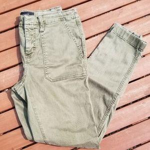 J Crew Faded Green Cargo Skinny Pants Size 26
